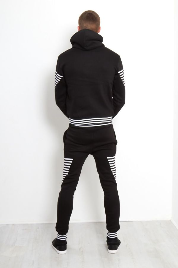 Black Retro Stripe Skinny Fit Tracksuit