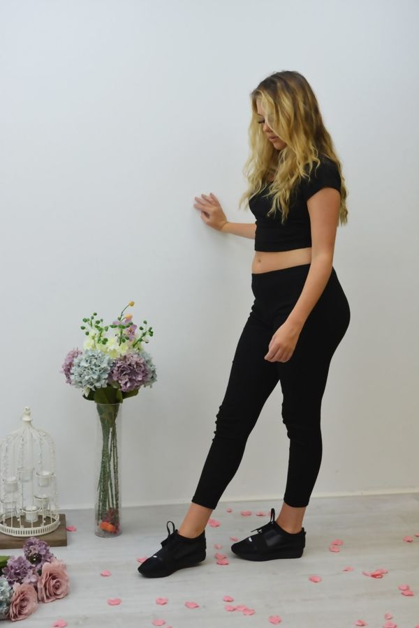 Black Ribbed Crop Top And Leggings Co-ord Set