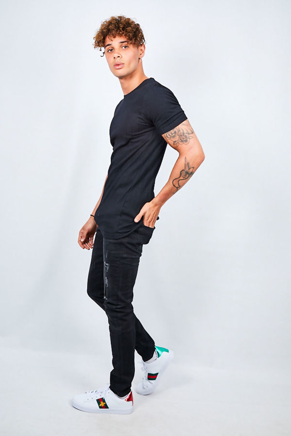 Black Ribbed Detail Crew Neck T-shirt