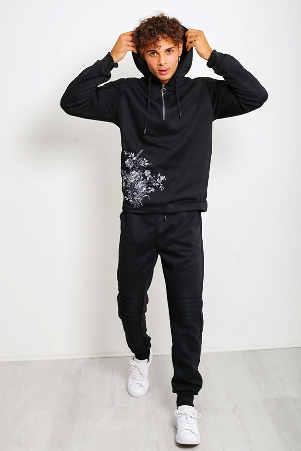 Black Ribbed Floral Embroidered Pullover Tracksuit