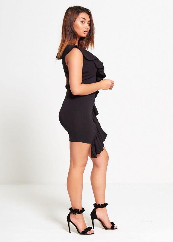 Black Ribbed Frill Mini Dress