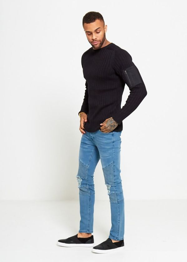 Black Ribbed Shoulder Pocket Crew Jumper