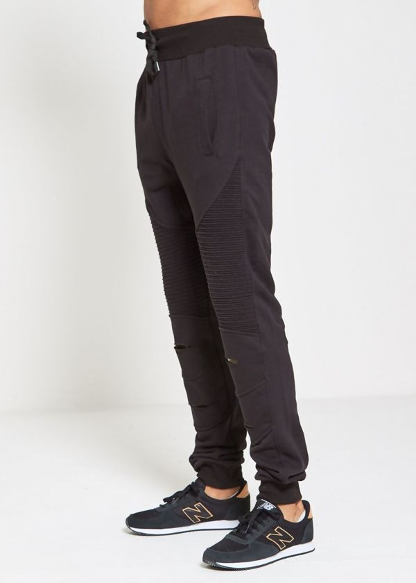 Black Ribbed Skinny Jogging Bottom