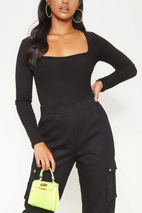 Black Ribbed Square Neck Long Sleeve Bodysuit
