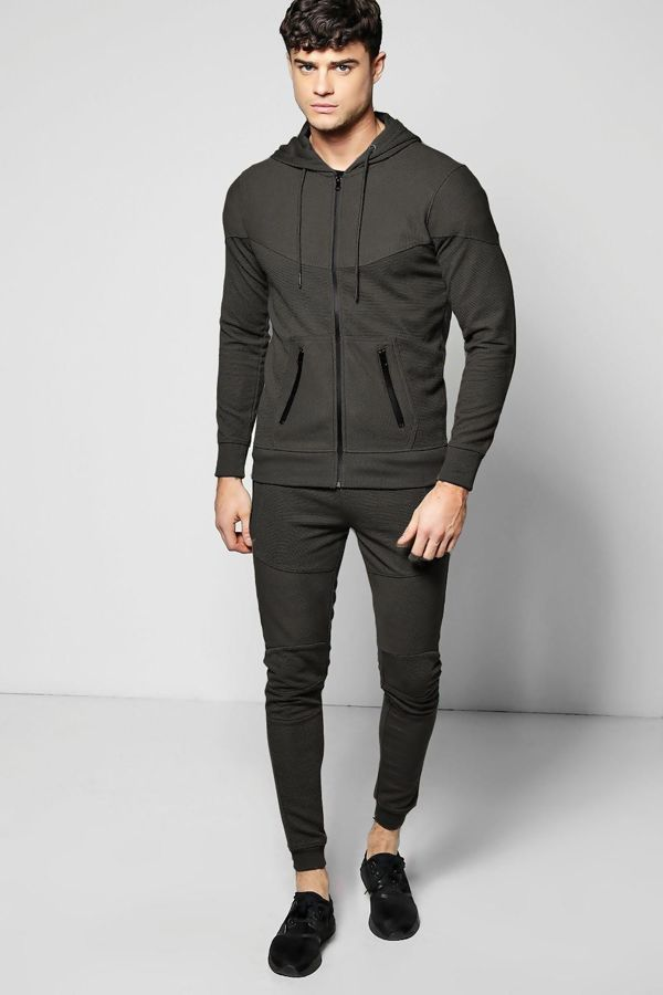 Black Ribbed Throw On And Go Tracksuit