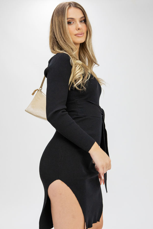 Black Ribbed Tie Waist Long Sleeve Dress