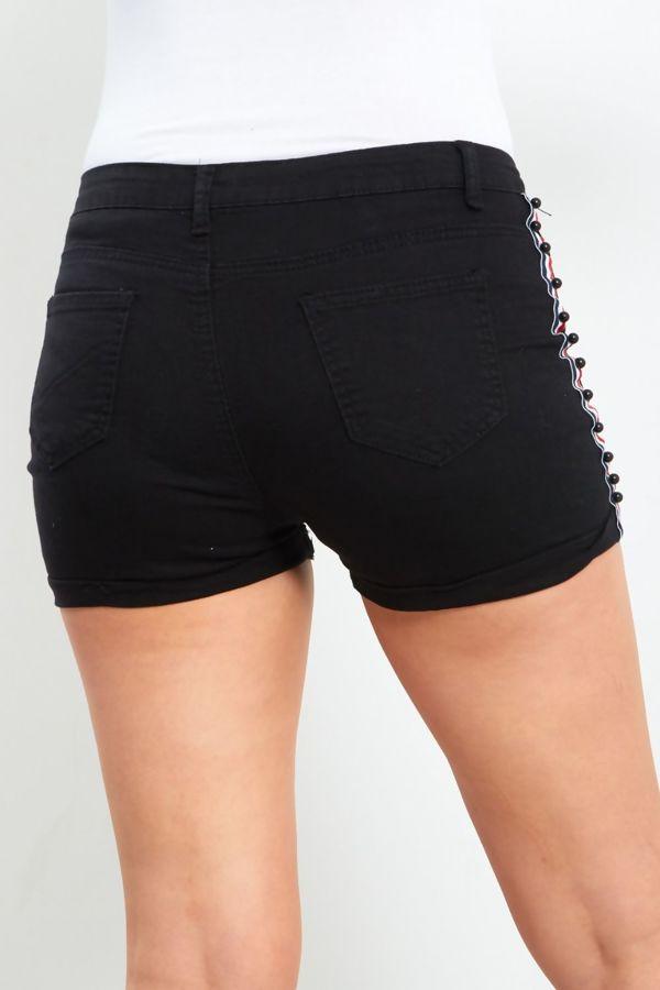 Black Ripped Pearl Stripe Denim Shorts