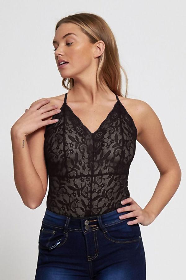 Black Rose Lace Floral Print Bodysuit