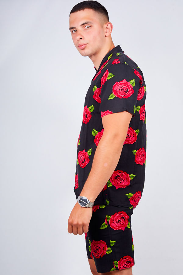 Black Rose Print Shirt and Swim Short Set