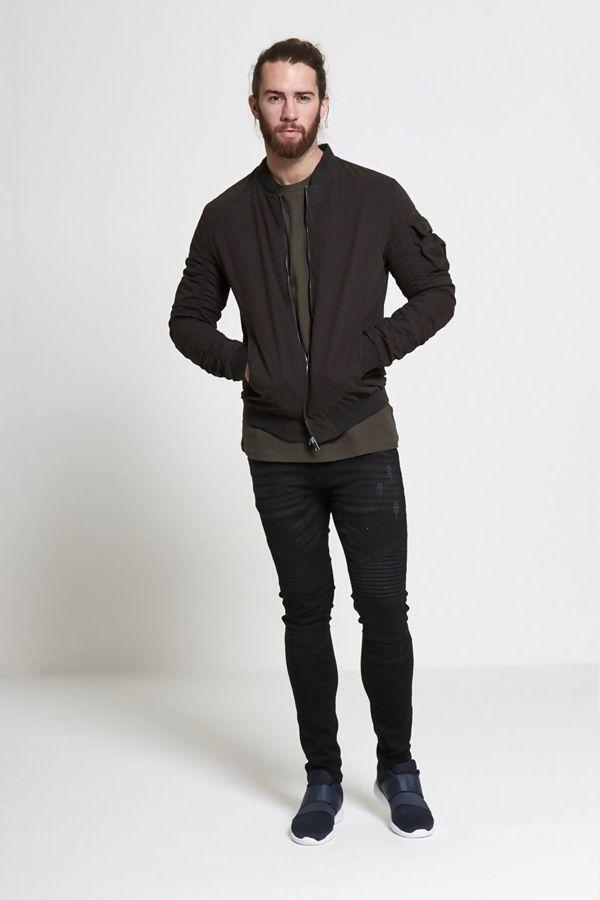 Black Ruched Sleeve Bomber Jacket