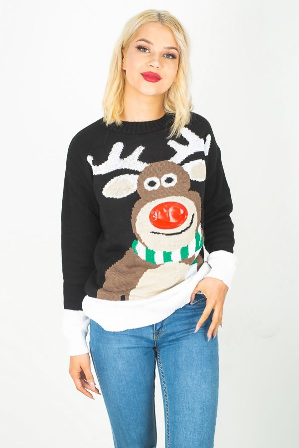 Black Rudolph 3D Light Christmas Jumper