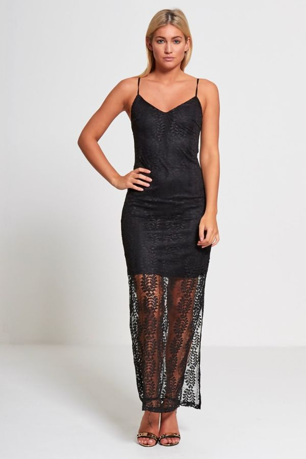 Black Sassy V Neck Lace Maxi Dress