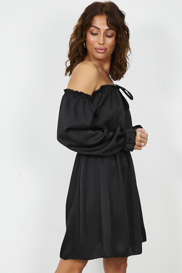 Black Satin Bardot Dress