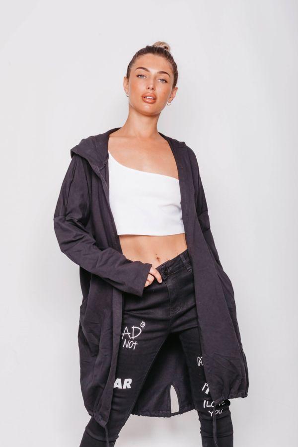 Black Sequin Rock & Roll Hooded Cardigan