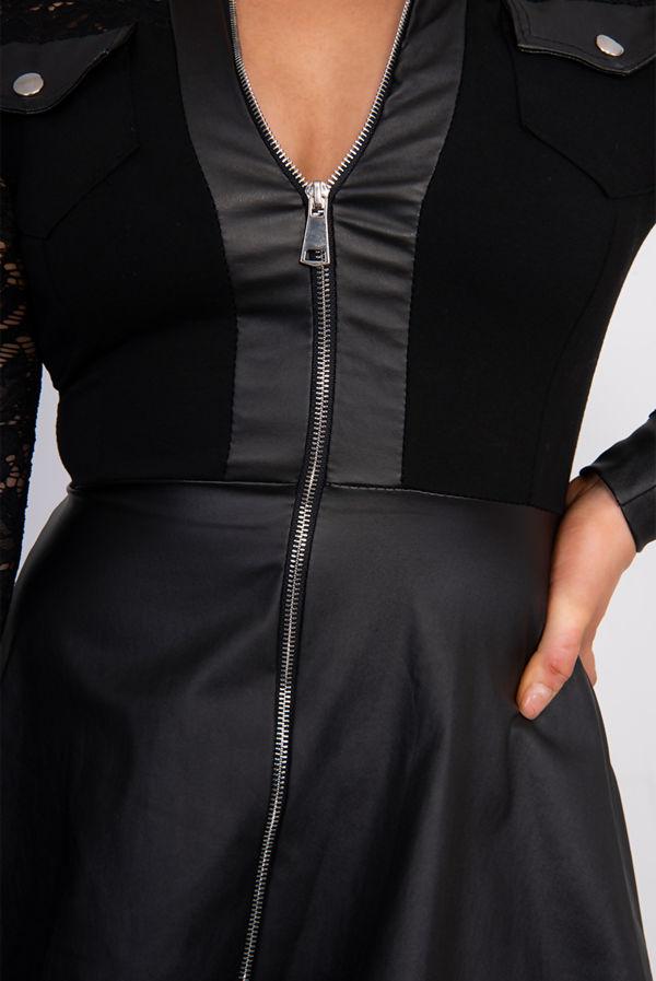 Black Sheer Mesh Lace Zipper Design PU Dress