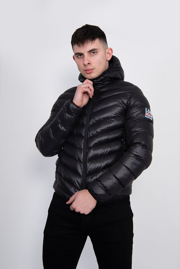 Black Shiny Chevron Padded Puffer Jacket