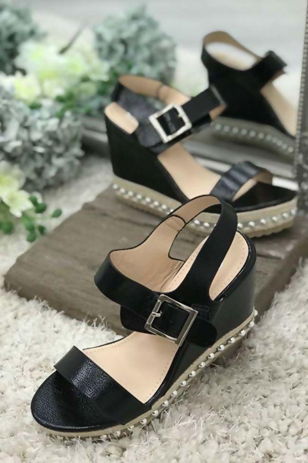 Black Shiny Espadrille Wedges