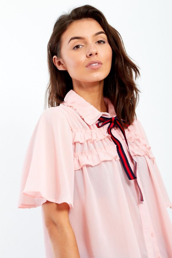 Black Short Sleeve Frill Blouse With Bow