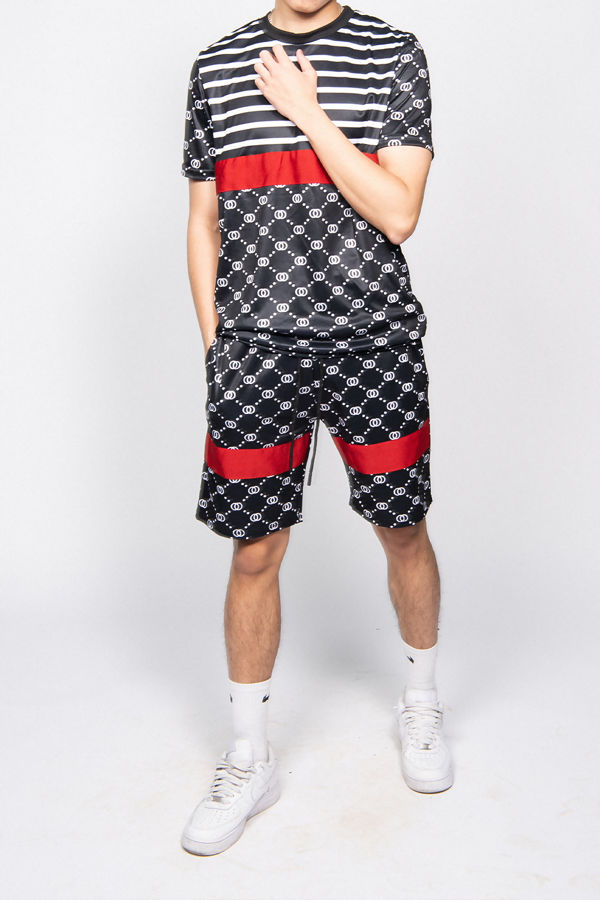 Black Short Sleeve Top and Shorts Gym Set