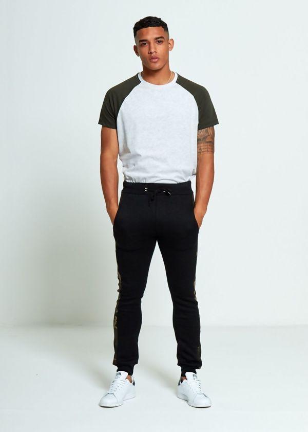 Black Skinny Fit Camo Stripe Basic Jogging Bottom