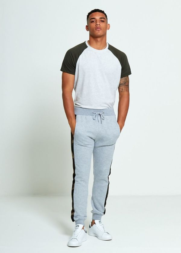 Black Skinny Fit Camo Stripe Jogging Bottom