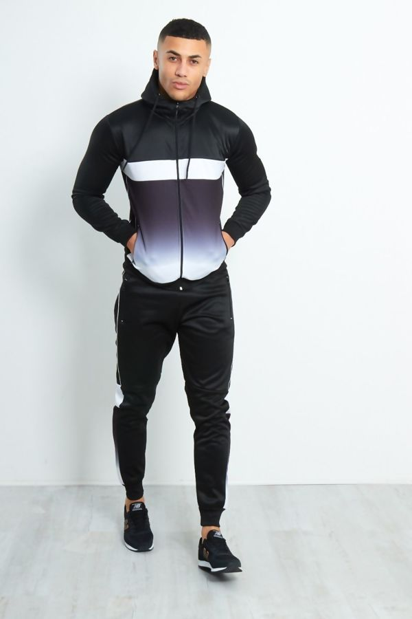 Black Slim Fit Two Tone Zip Through Tracksuit Pre-Order