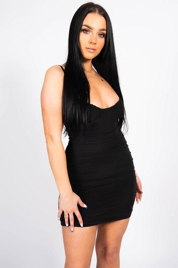 Black Slinky Ruched Strappy Dress