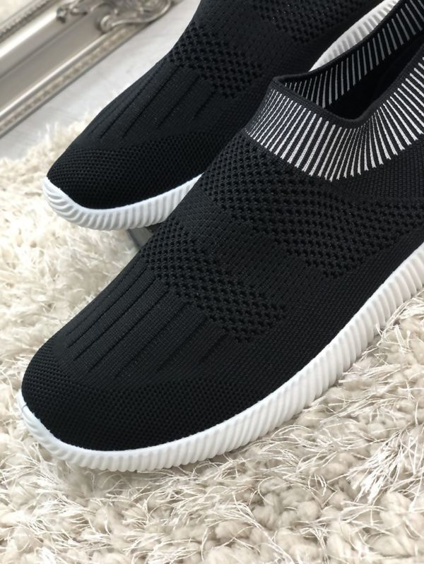 Black Slip On Chunky Sole Trainers