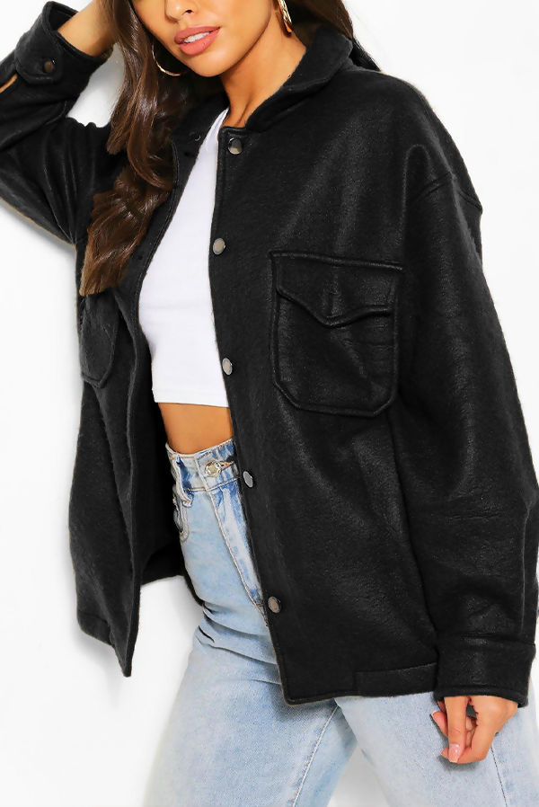 Black Soft Touch Oversized Shacket