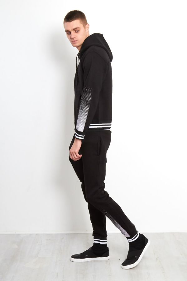 Black Spatted Skinny Fit Tracksuit