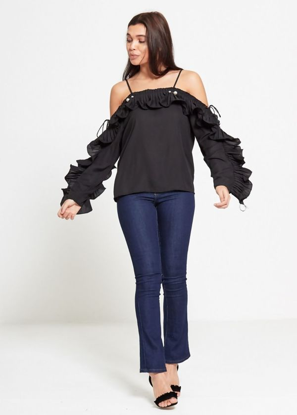 Black Strap Pearl Ruffle Sleeve Top