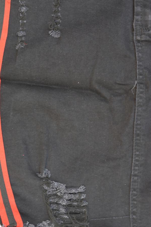 Black Stripe Distressed Hem Denim Skirt
