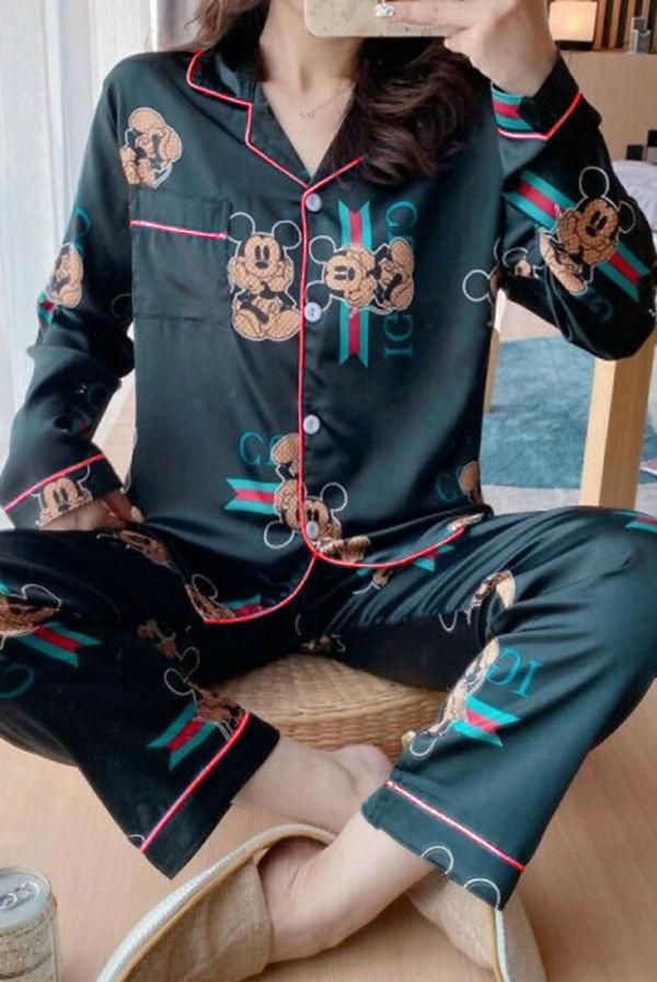 Black Stripe Mickey Mouse Long Sleeve Satin PJ Set