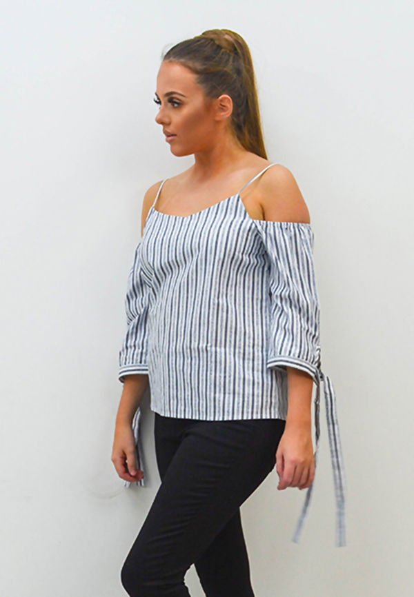 Black Striped Cold Shoulder Top