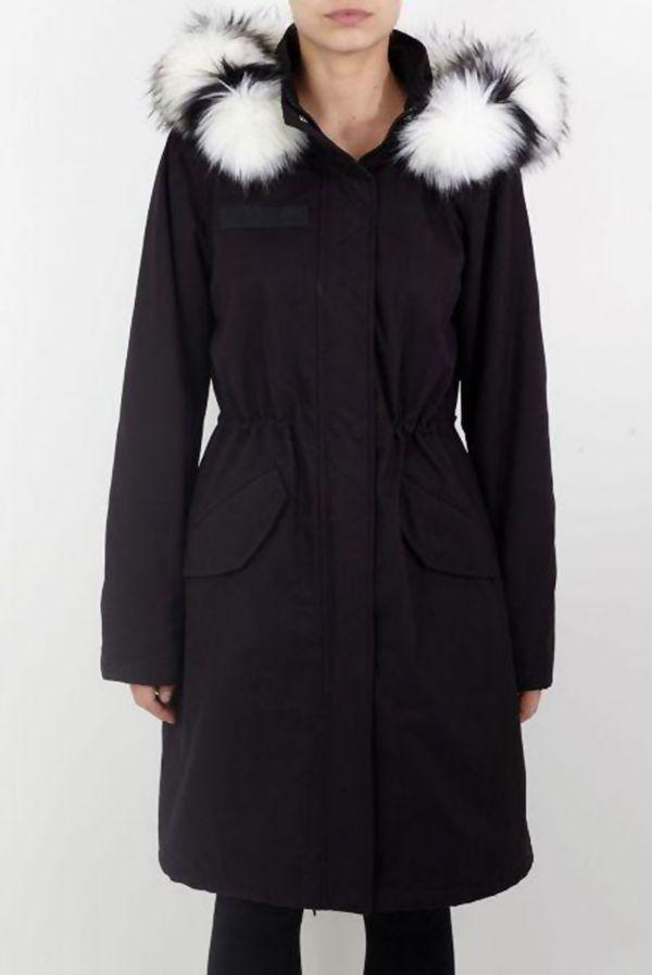 Black Striped Contrast Faux Fur Trim Parka