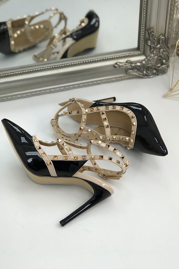 Black Studded Court Heels