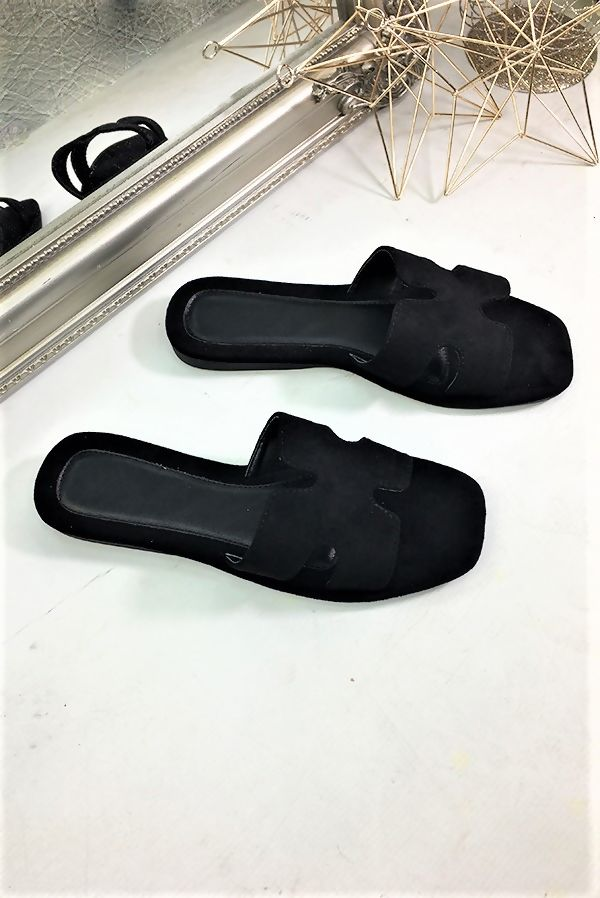 Black Suede Flat Mules Sandal