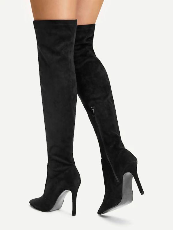 Black Suede Knee High Pointed Stilettos Heels Boots