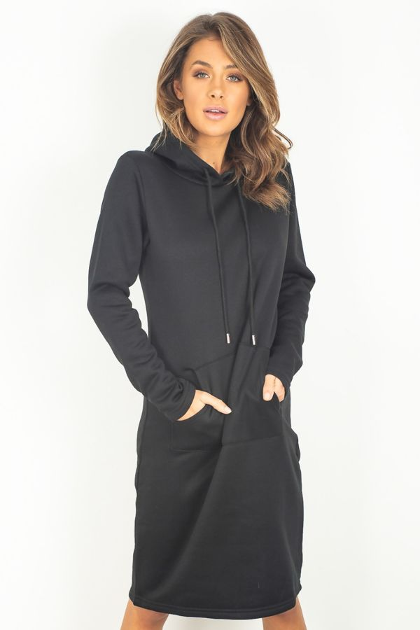 Black Sweat Hood Dress