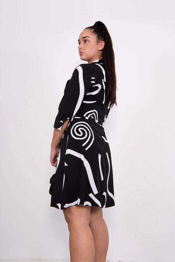 Black Swirl Print Tie Waist Shirt Dress