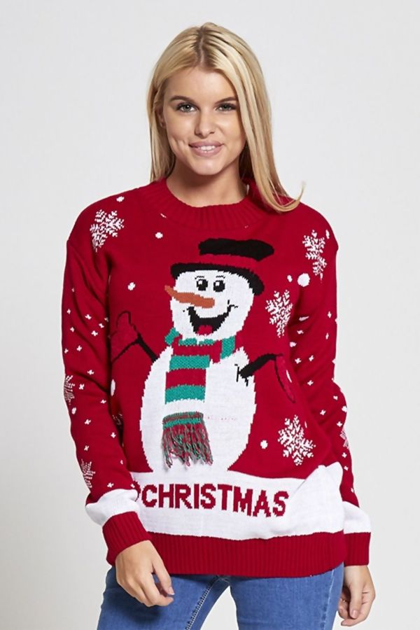 Black Snow Man I Love Christmas Knitted Jumper