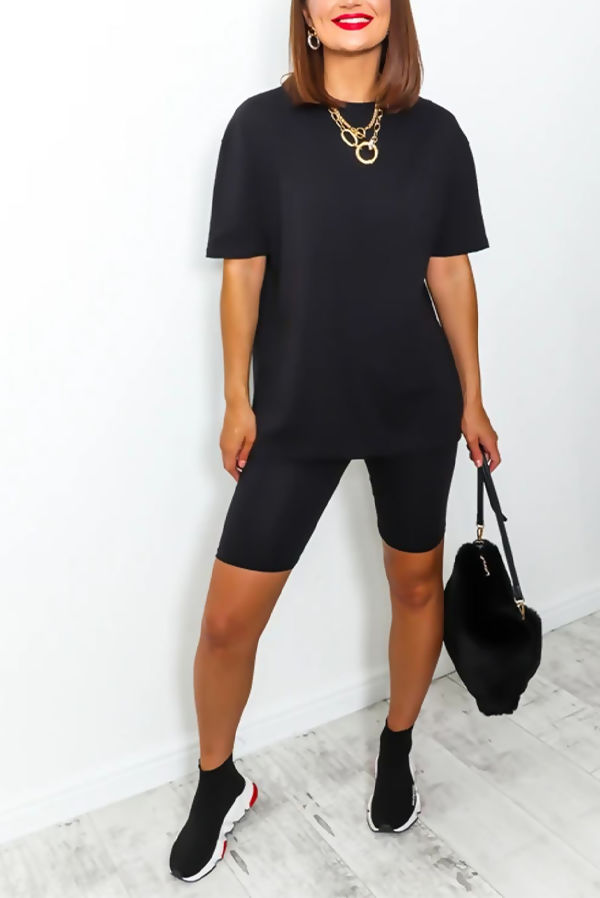 Black T-shirt and Cycling Shorts Set
