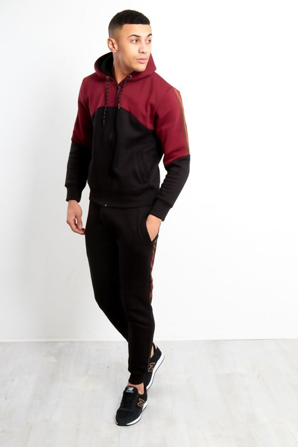 Black Tape Spliced Panel Skinny Fit Tracksuit
