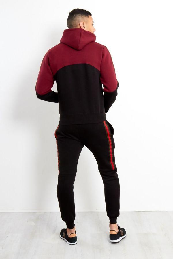 Black Tape Spliced Panel Skinny Fit Tracksuit
