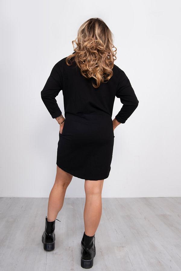 Black Teddy Bear Hooded Pocket Sweat Dress