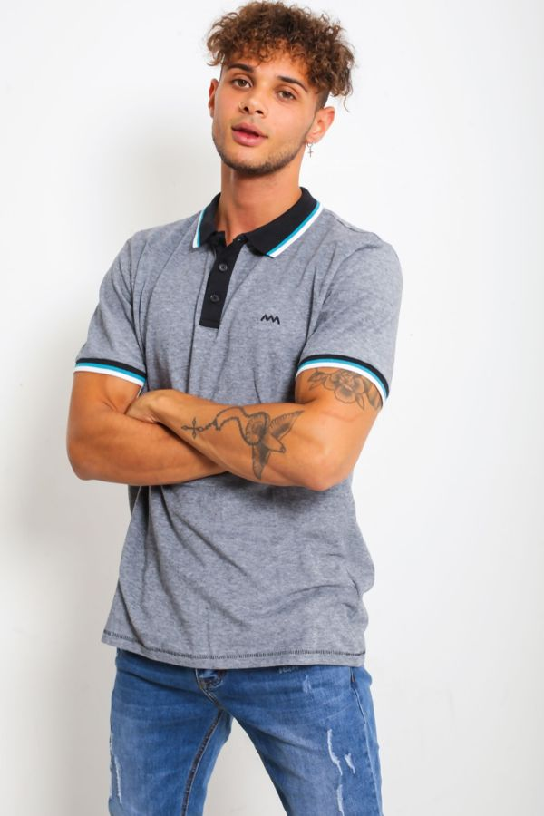 Black Textured Polo Louis Shirt