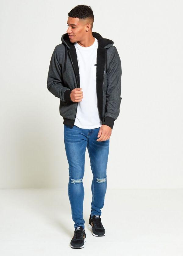 Black Textured Zip Up Hoodies