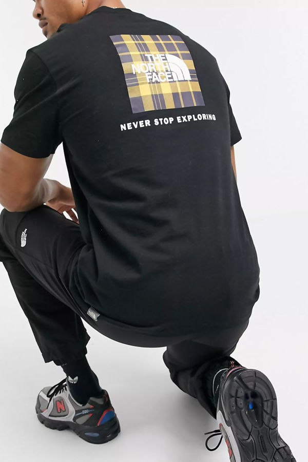 Black The North Face Red Box Check Tee