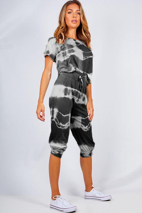 Black Tie Dye Crop Top And Harem Cap Set