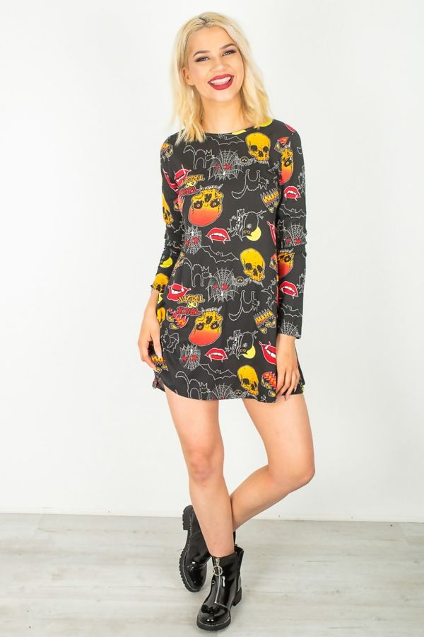 Black Trick Or Treat Print Halloween Swing Dress